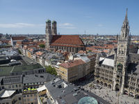 Panoramic View from Church Tower Alter Peter to Dom zu unserer Lieben Frau and Town Hall at Marienplatz - Munich