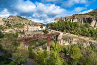 San Pablo Bridge and panoramic view of Cuenca, Spain.