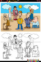 cartoon funny people group coloring book page