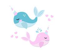 Little whale unicorn set, modern cartoon style. Vector illustration