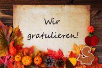 Old Paper With Wir Gratulieren Means Congratulations, Colorful Autumn Decoration