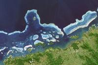 Satellite image of coral reefs in Fiji Islands