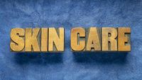 skin care word abstract in wood type