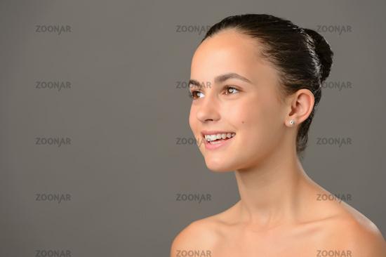 Teenage girl bare shoulders skin cosmetics beauty