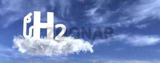H2 gas pump symbol in the sky