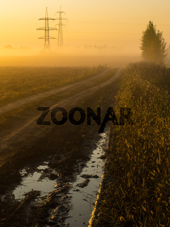 Foggy morning on a plowed field with power lines and a country road with a track filled with rainwater