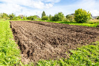 Plowed agricultural field at the countryside