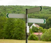 Signposts on a country road. Copy space.