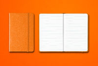 Orange closed and open lined notebooks isolated on colorful background