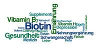 Word Cloud on a white background - Biotin (German)