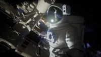 Astronaut outside the International Space Station on a spacewalk