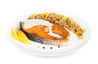 Cooked salmon with rice