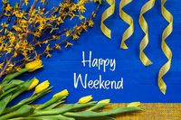 Spring Flowers Decoration, Branch, Ribbon, Text Happy Weekend