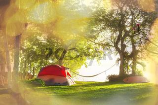 Tent on grassland