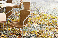 Empty open-air cafe in the fall