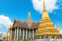 View to complex of Temple of Emerald Buddha in Bangkok