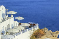 View from a balcony at Oia village in the Caldera, Greece
