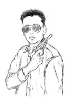 Criminal Mafia or Gangster with gun and sunglasses - Vector Illustration