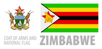 Vector set of the coat of arms and national flag of Zimbabwe
