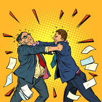 businessmen fighting, conflict competition