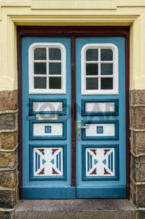 Dekorative Haustür aus Holz in Friedrichstadt, Schleswig-Holstein, Deutschland