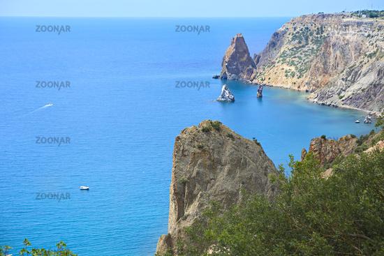 Beauty nature sea landscape of Crimea, horizontal photo. Panoramic view of Fiolent cape