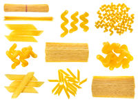 set of dried italian pasta isolated on white