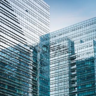 modern glass skyscraper closeup