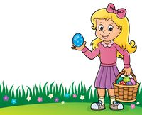 Girl with Easter eggs theme image 2