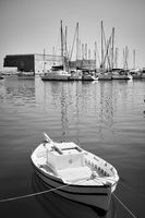 Small boat in the harbour near Koules Fortress in Heraklion