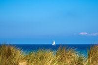 Blick auf die Ostsee mit Segelboot und Düne in Warnemünde