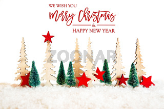 Christmas Tree, Snow, Red Star, Merry Christmas And Happy New Year