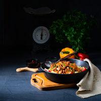 rustic bulgur pans with gratinated gyros and yoghurt