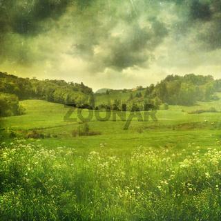 Summer landscape with vintage color filters