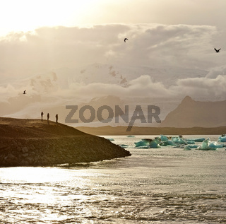 Sunset at the famous glacier lagoon at Jokulsarlon - Iceland