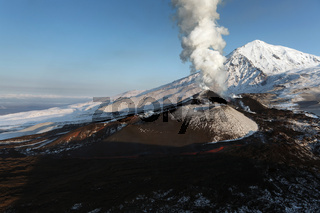 Volcanic landscape: beautiful eruption volcano. Kamchatka Peninsula, Russian Far East