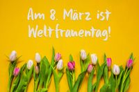 Colorful Tulip, Text Weltfrauentag Means Women Day, Yellow Background