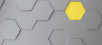 Abstract modern grey and yellow honeycomb background