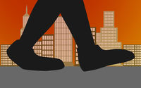 Walking feet in the city