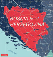 Bosnia and Herzegovina country detailed editable map