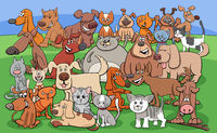 funny dogs and cats cartoon characters group
