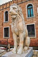 Venice, Italy - 03/18/2019 - historical lion figure at the arsenal