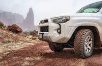 Toyota 4runner SUV on a desert trail in winter conditions