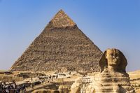 The Great Sphinx of Giza and in the background the Pyramid of Khafre