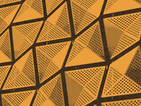 engraved effect illustration of orange modern geometric architectural cladding with angular pattern
