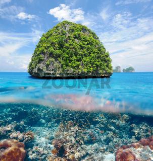 Uninhabited island with coral reef underwater view