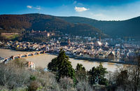 Aerial View of Heidelberg old town with castle and bridge, neckar river, germany