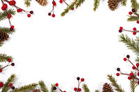 Christmas card frame decor on white