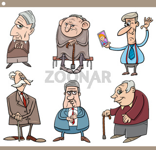 seniors people characters cartoon illustration set