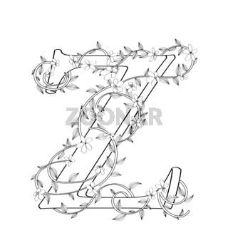 Letter Z floral sketch